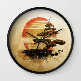 Bonsai Tree In The Sunset Wall Clock