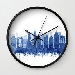 New York Cit Skyline Blue Watercolor by Zouzounio Art Wall Clock
