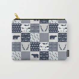 Camper antlers bears pattern minimal nursery basic navy mint grey white camping cabin chalet decor Carry-All Pouch