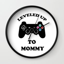 Leveled Up To Mommy Video Game Controller Funny Wall Clock