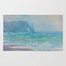 Claude Monet Impressionist Landscape Oil Painting Regnvær, Etretat Rug