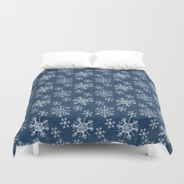 Hand Drawn Snowflakes on Blue Duvet Cover