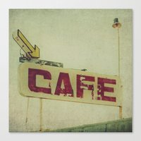 cafe Canvas Prints featuring Cafe by Honey Malek