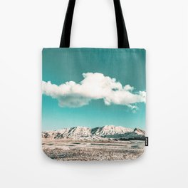 Vintage Desert Snow Cloud // Scenic Desert Landscape in Winter Fluffy Clouds Snow Mountains Cacti Tote Bag