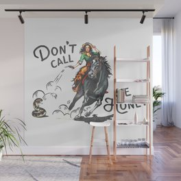 """Don't Call Me Honey"" Cowgirl On Horseback Shooting a Rattlesnake Wall Mural"