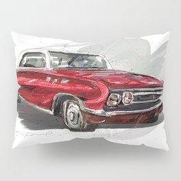 Red Old fashion Car Pillow Sham