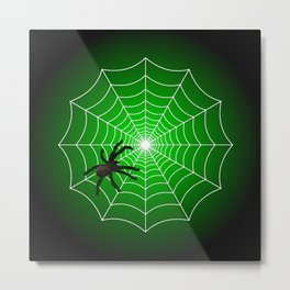 White Spider Web With Spider on Acid Green and Black Metal Print