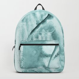 Great White Shark In Teal Watercolor Art Backpack