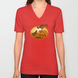 rooster hen chicken and chicks spade retro Unisex V-Neck