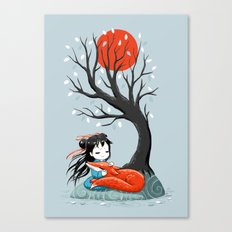Girl and a Fox 2 Canvas Print
