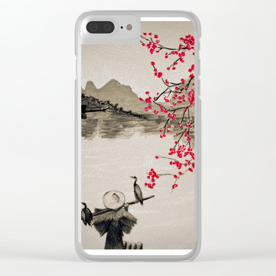 Japan Crane Fishing Clear iPhone Case