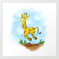 chad wys Art Prints featuring Chad the Prancing Giraffe  by Nuanc3d