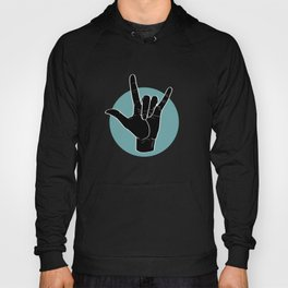 ILY - I Love You - Sign Language - Black on Green Blue 00 Hoody