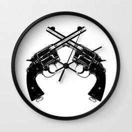 Crossed Revolvers Wall Clock