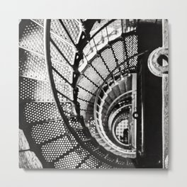 Spiral staircase black and white Metal Print