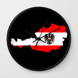 Austrian Flag and Map Wall Clock