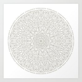 Gray Circle of Life Mandala on White Art Print