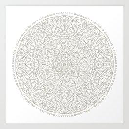 Gray Circle of Life Mandala on White Art Print