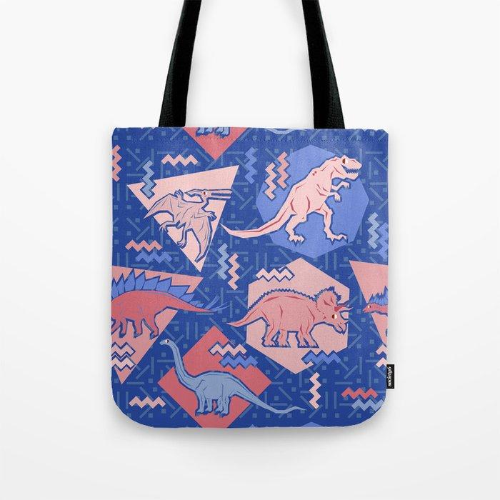 Nineties Dinosaurs Pattern  - Rose Quartz and Serenity version Tote Bag