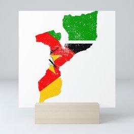 Distressed Mozambique Map Mini Art Print