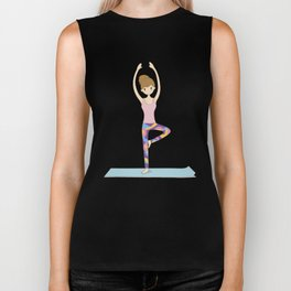 Yoga Girl in Tree Pose illustration Biker Tank
