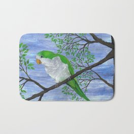 A painting of a quaker parrot Bath Mat