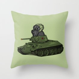 Scottish Terrier Dog Sitting in Toy Tank Throw Pillow