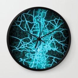 Kolkata, India, Blue, White, Neon, Glow, City, Map Wall Clock