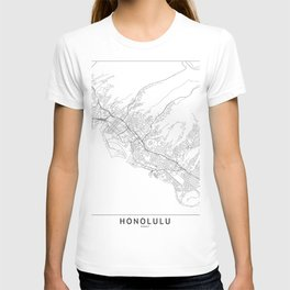 Honolulu White Map T-shirt