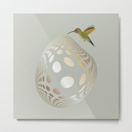 Hummingbird and Bubble Metal Print