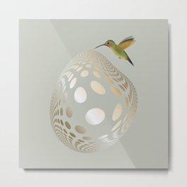Hummingbird and Bubble Metal Print