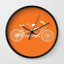 Tandem Bike Orange Wall Clock