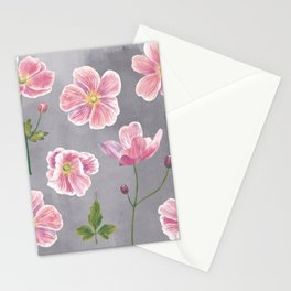 Japanese Anemone Flower Painting Stationery Cards