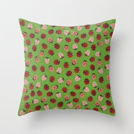 All over Modern Ladybug on Green Background Throw Pillow