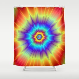 Blasted Blue Red and Yellow Shower Curtain