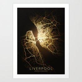 liverpool England city night light map Art Print