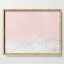 Blush Pink on Gray and White Marble II Serving Tray