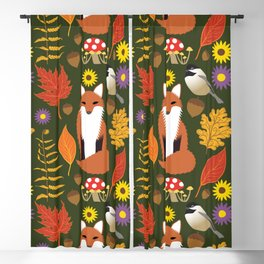 Fox, Autumn Woodland Leaf Print Blackout Curtain