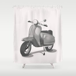 Vintage Scooter black and white Shower Curtain