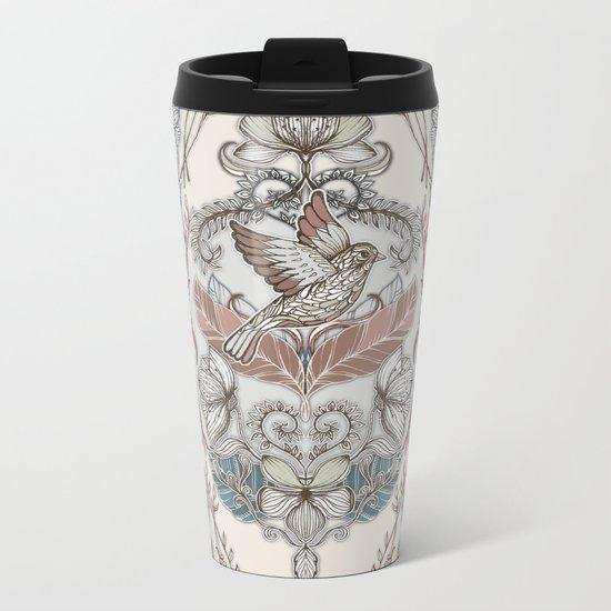 Woodland Birds - hand drawn vintage illustration pattern in neutral colors Metal Travel Mug