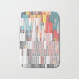Vibrant Graffity on Black and White Geometry Bath Mat