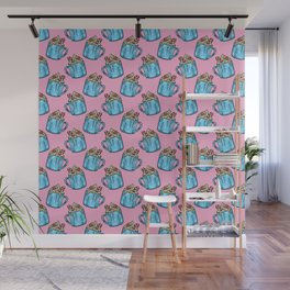 Cozy Candy Cane Hot Chocolate - Pastel Christmas Wall Mural