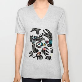African Tribal Art Black and White with Spirits of Life Unisex V-Neck