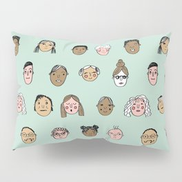 Faces people illustration hand drawn different people all shapes and sizes pattern Pillow Sham