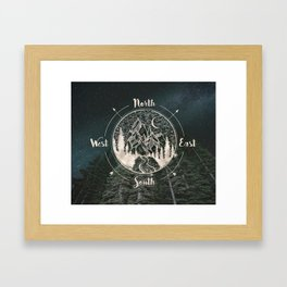 Mountains Compass Milky Way Woods Gold Framed Art Print
