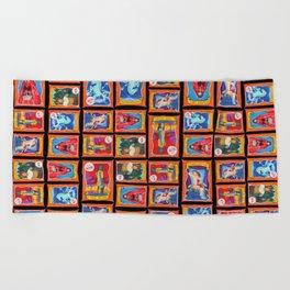 Sideshow Banner Multi-Print Pattern on Black Beach Towel