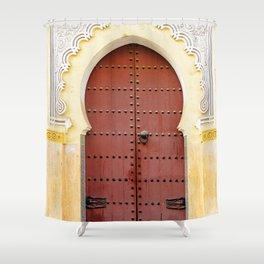 Golden Red Door in Fes, Morocco Shower Curtain