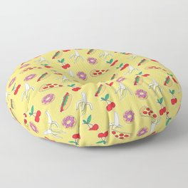 Modern yellow red fruit pizza sweet donuts food pattern Floor Pillow