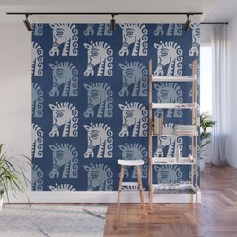 Mid Century Horse Pattern Blues Wall Mural