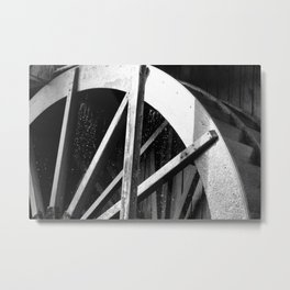 Waterwheel Gießenbach, black and white Metal Print